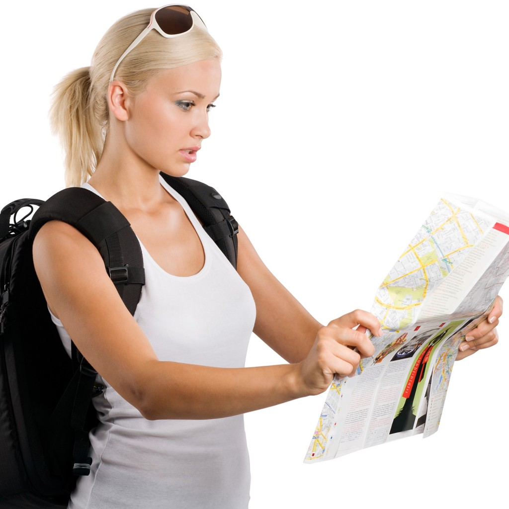 1woman-tourist-map